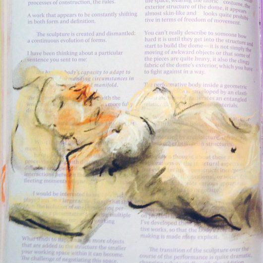 Chalk pastel life drawing on found magazine